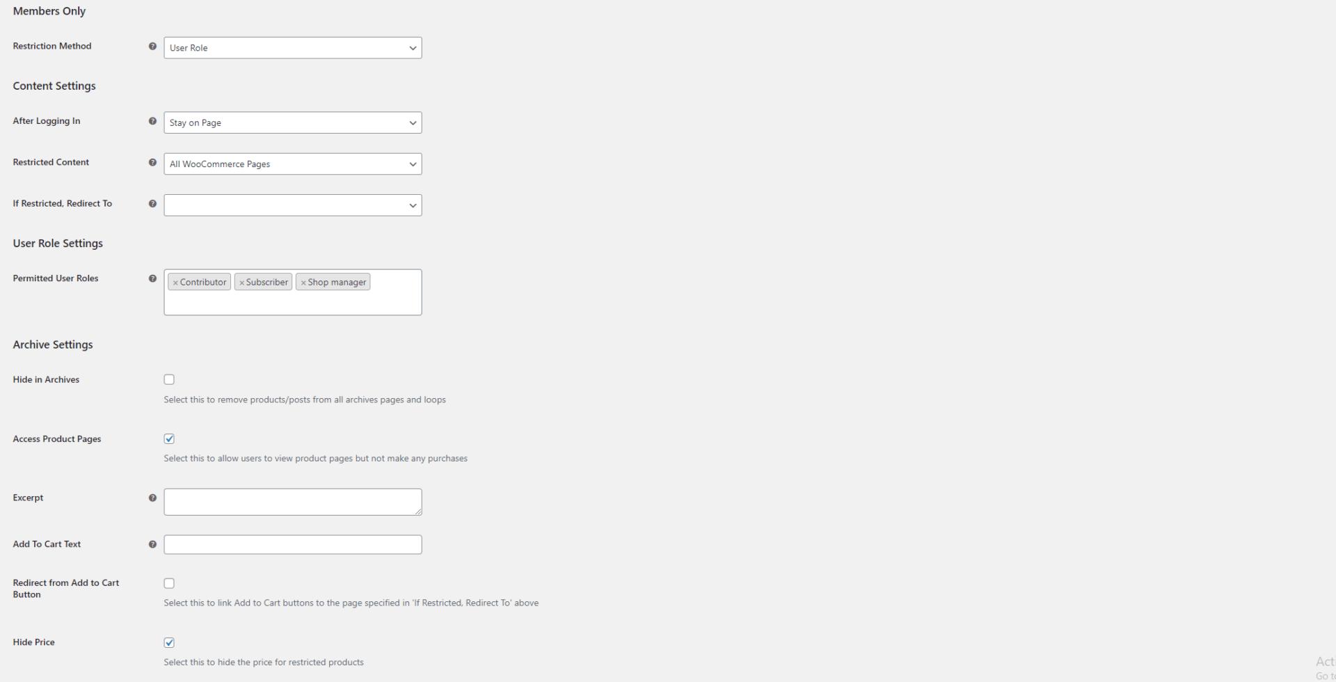 WooCommerce hide price settings