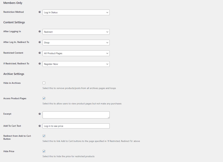 Members Only settings