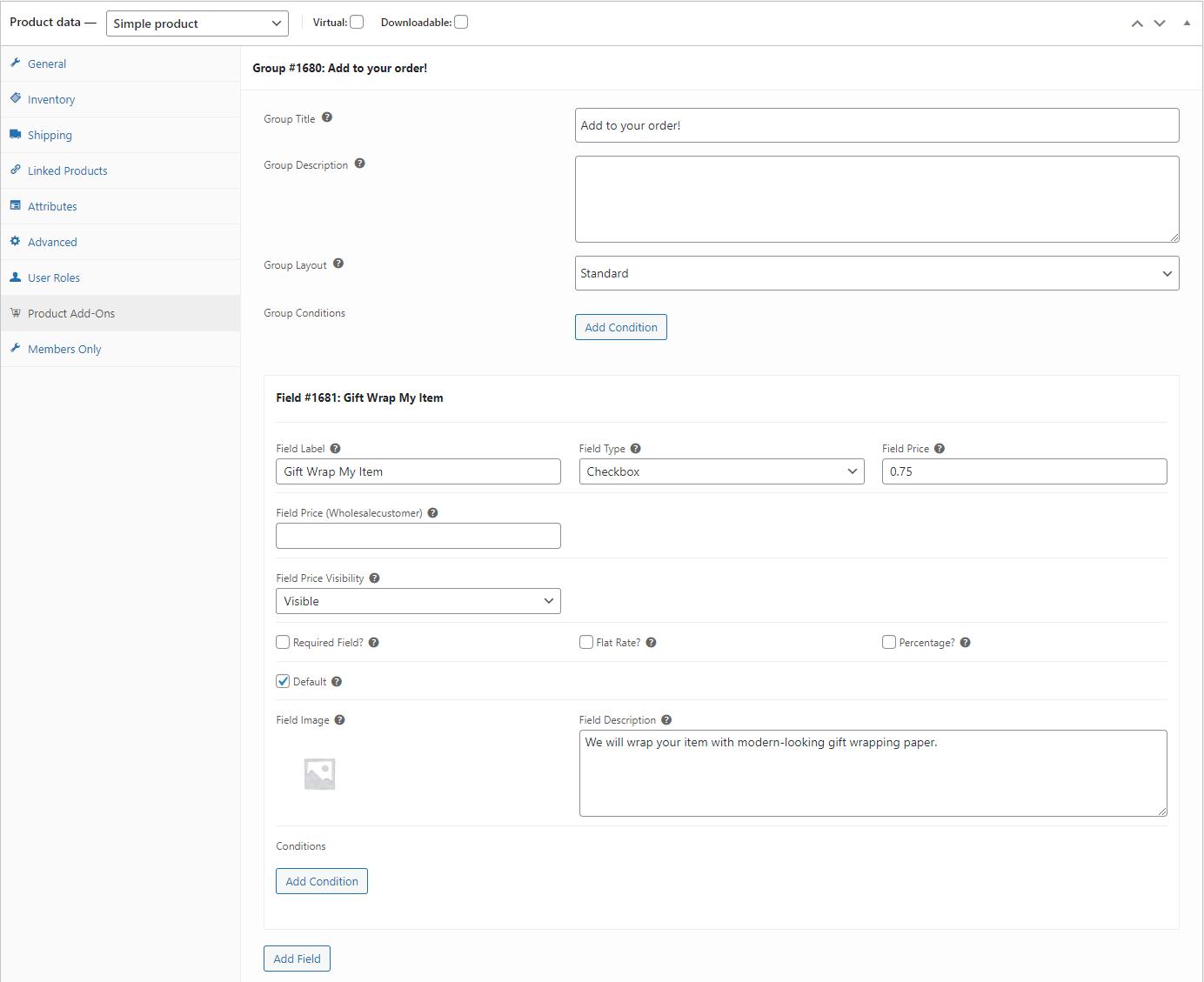 Parameters settings