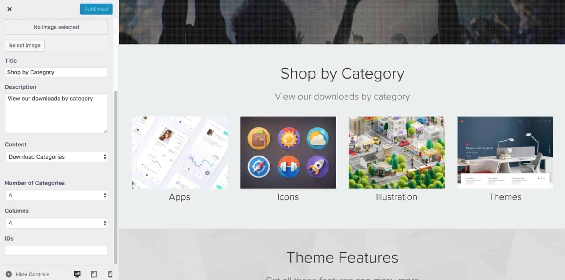 EDD theme product categories