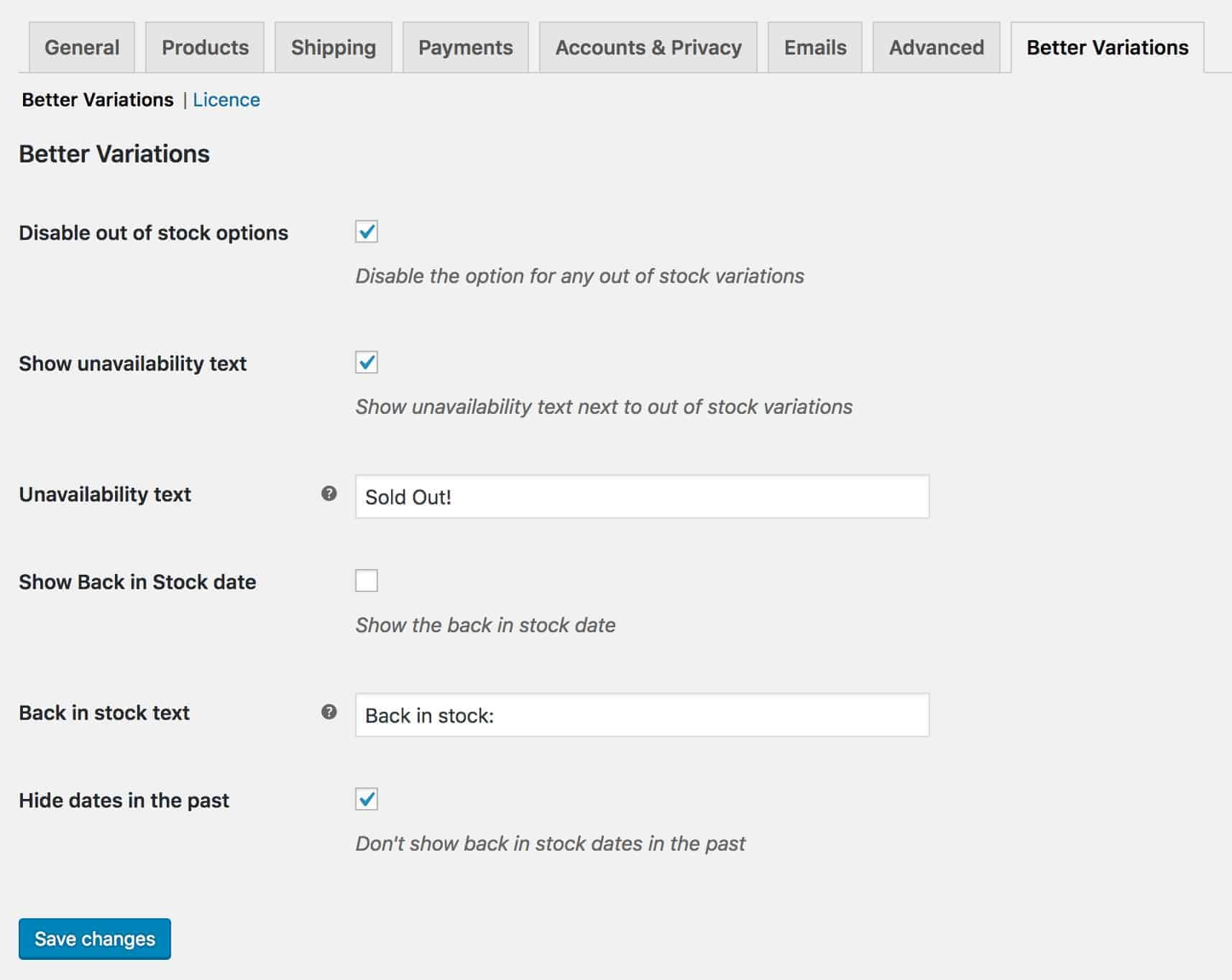 WooCommerce Better Variations settings page
